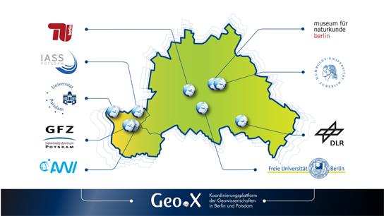 Die Partner des geowissenschaftlichen Forschungsverbundes Geo.X